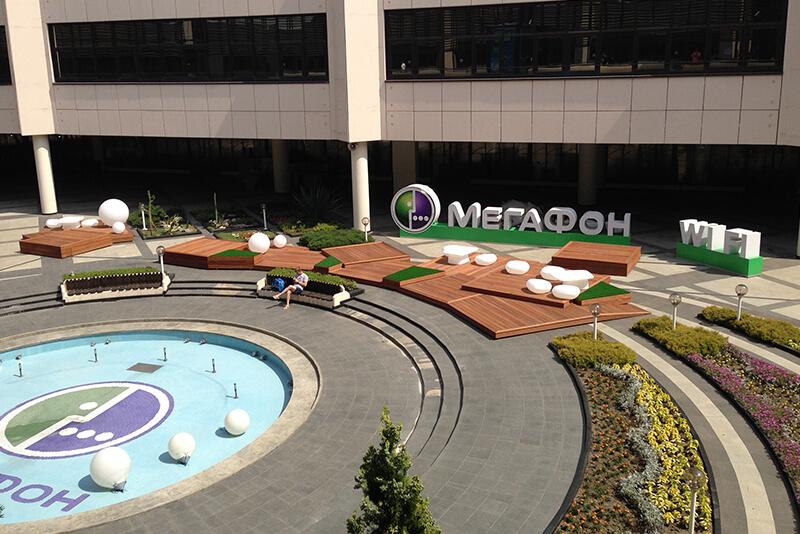 Дизайн олимпийского магазина Мегафон