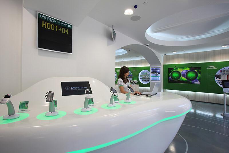 Megafon telecom retail counter design Russia