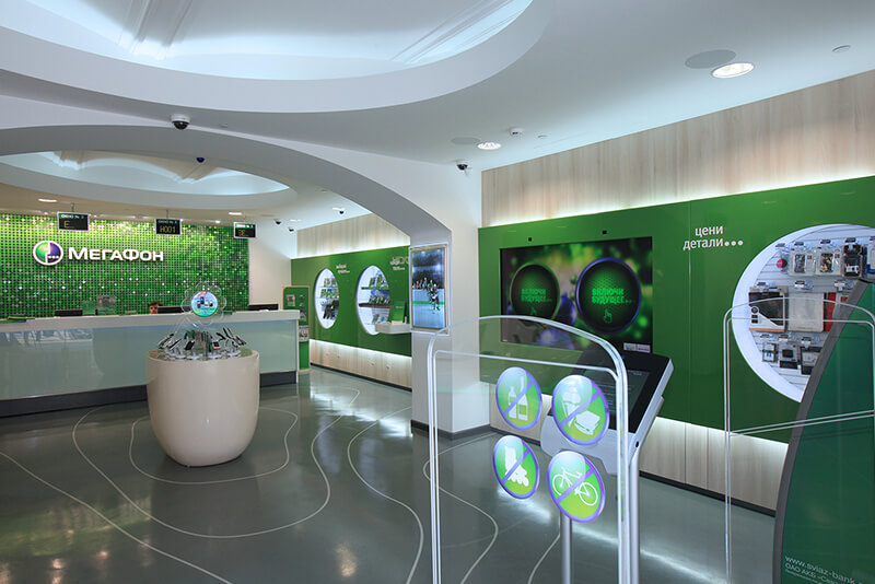 Megafon telecom retail store design Russia