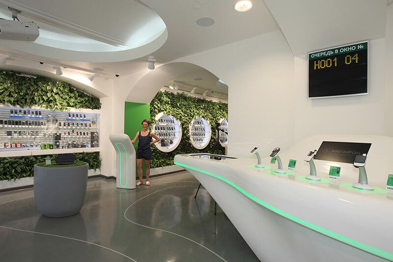 Megafon telecom retail furniture design Russia